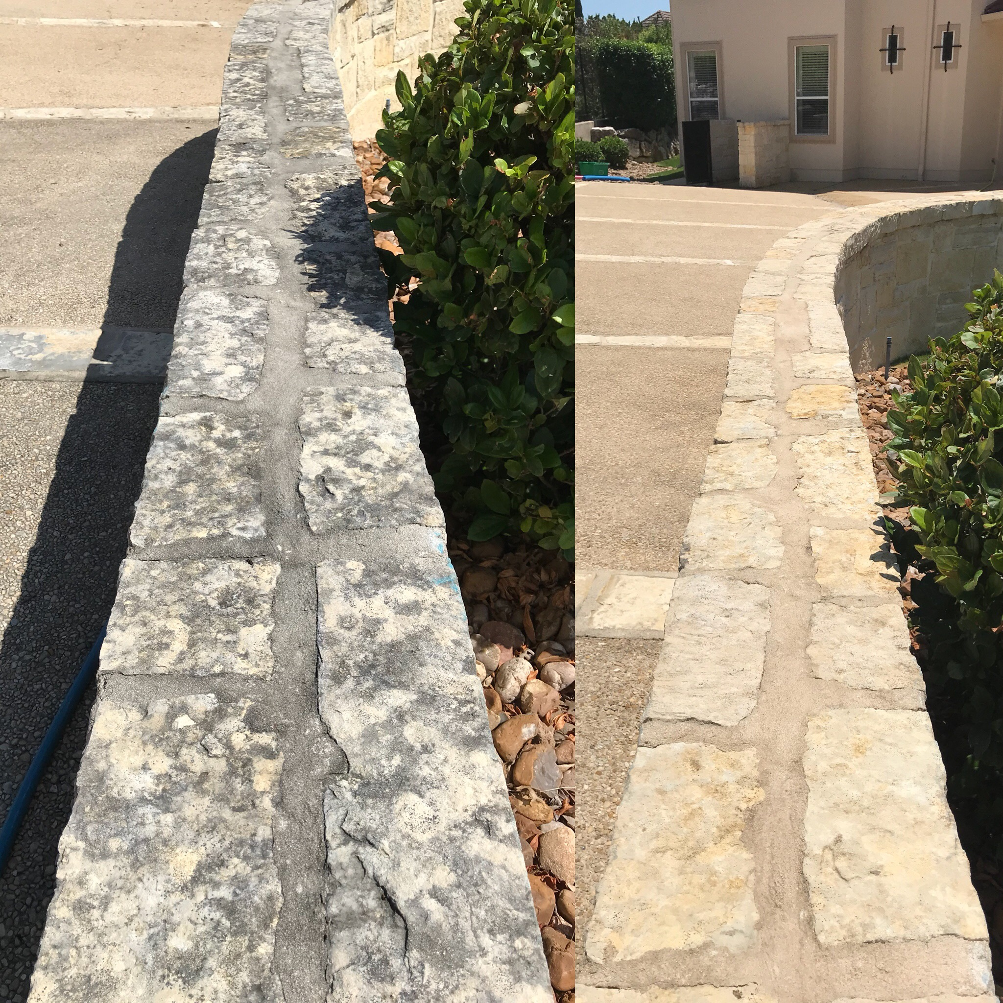 house washing on natural stone before and after