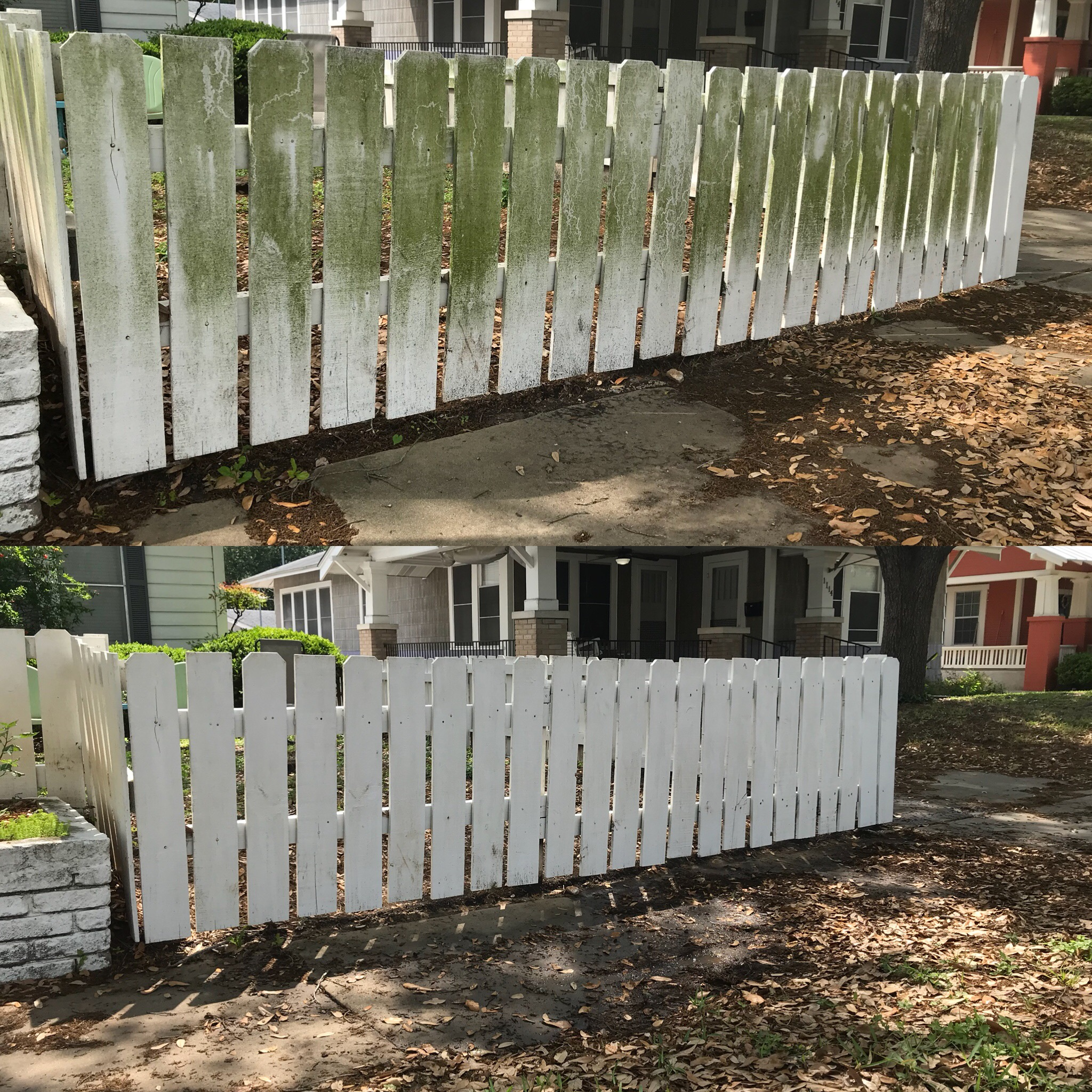 house washing fence before and after